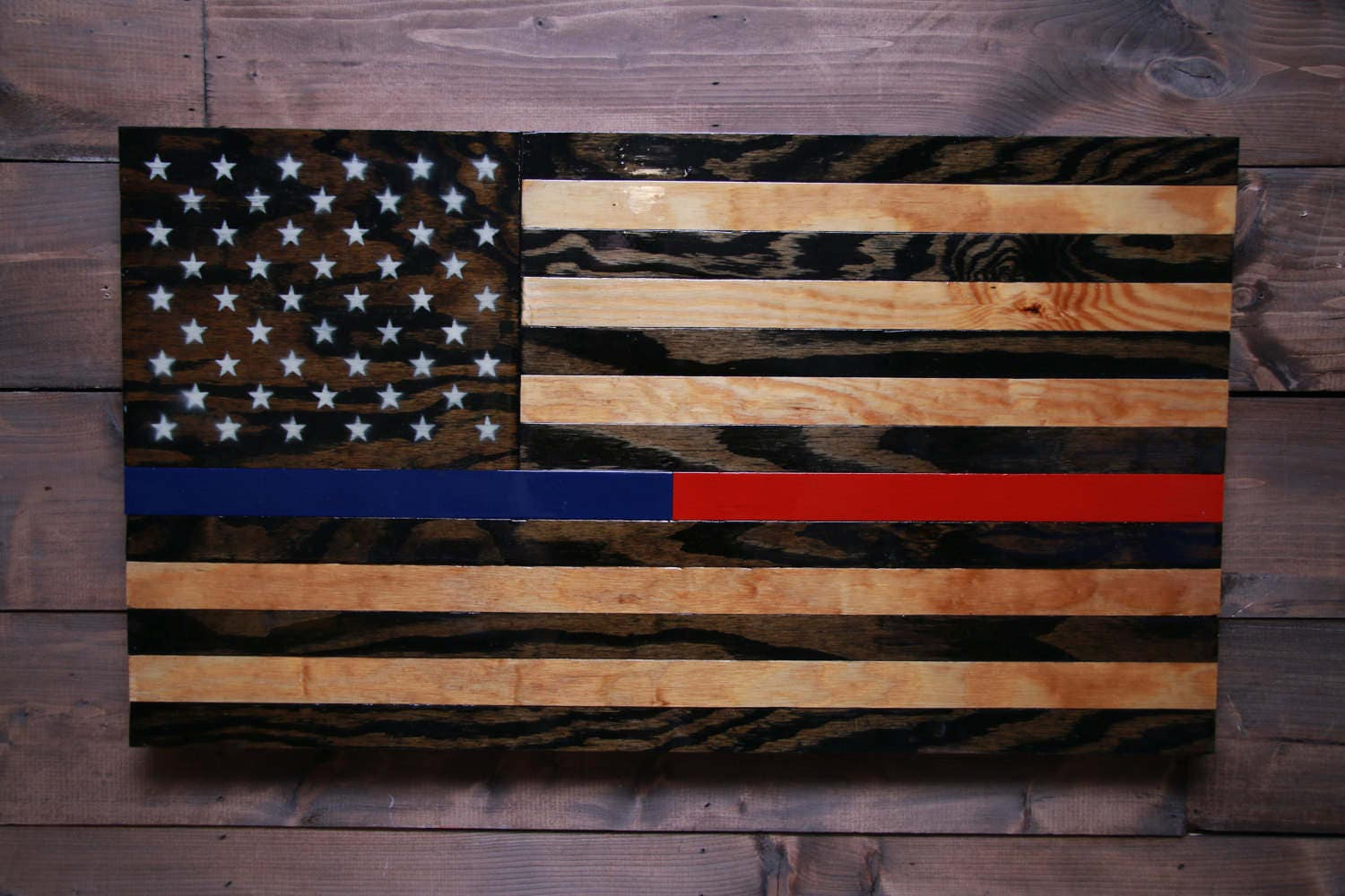 Police And Fire American Flag Military Veteran Made Wood