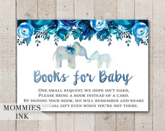Elephant Books for Baby Insert, Watercolor Elephant Bring a Book Insert, Elephant Book Request, Shower Printable, Stock Baby's Library, Blue