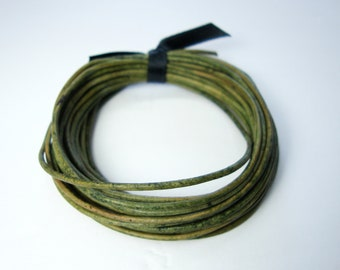Round Leather Cord, Natural Green Leather Cord, 1.5 mm Round Cord, Genuine Leather Cord, Bracelet Necklace Leather