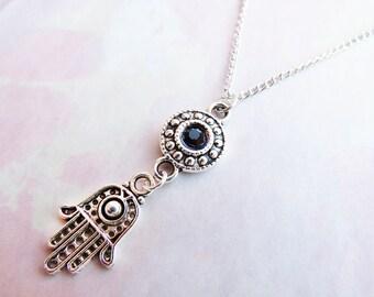 Black Gemstone Hamsa Necklace, Tibetan Silver Hamsa Choker, Hamsa Jewelry, Hand of Fatima Necklace, Fatima Choker, Dainty Boho Necklace