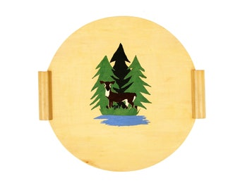 Vintage 1970s Blonde Wood Deer Forest Serving Tray Hand Painted Round w/ Handles Wall Decor
