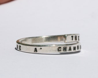 Bob Dylan handstamped Silver quote Ring 'The Times they are a' changing' Sterling Silver 925 -Adjustable