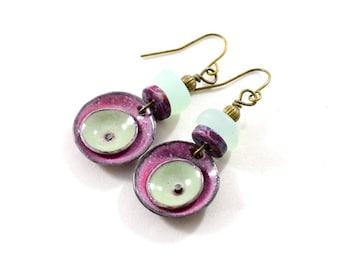 Handmade Raspberry Enameled Earrings,  Double Poppy Circle Earrings, Artisan Earrings, Boho Earrings, Brass Earrings, Small Earrings, AE235