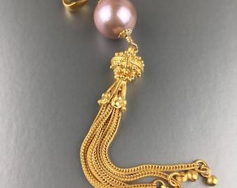 Mauve Pink Pearl Tassel