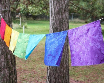 Rainbow Prayer Flags - Rainbow Flags - Rainbow Banner - Rainbow Garland - Chakra Flags - LGBTQ Flag - Meditation Flags - LGBTQ Pride Flag