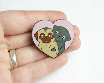 Love Pugs Pin   Hard Enamel   Hugging Pugs   Black pug   Heart Brooch   Pug Gifts   Nais Products