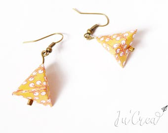 Origami earrings yellow triangle geometric