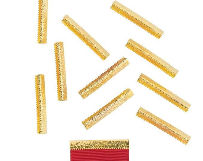 50 pieces  38mm or 1  1/2 inch - Gold No Loop Ribbon Clamp End Crimps - Artisan Series