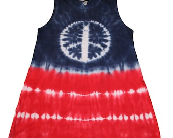4th of July Shirt in Red, White and Blue with a Tie Dye Peace Sign