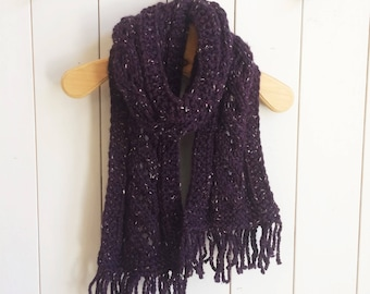 Plum wool with fringe scarf