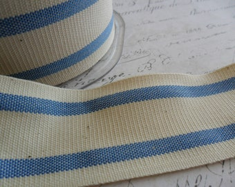 French Style Organic Cotton Natural and French Blue Stripe Ribbon 1.5 inch wide