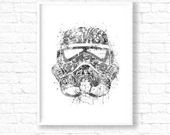 "CLEARANCE Stormtrooper Art Watercolor 11""x17""in, Star Wars, Storm Trooper Star Wars Poster, Black White Art Stormtrooper Print, Movie WT222"