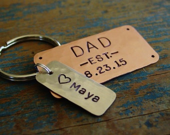 Dad Keychain,Dad Est Keychain,Hand Stamped,Dad Gift,Established Date,Personalized Childs Name,New Dad Gift,Father's Day,Gift from Child