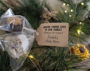 """Personalized Favor S'more Love Tags 2.5""""L x1.8""""w s'more love baby ahower, Thank You tags, Favor tags, Gift tags, baby shower s'more love"""