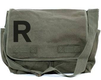 Monogrammed Messenger Bag, Personalized Bag, Initial, Crossbody Canvas Bag, Personalized Groomsmen Gift, Women & Men's Messenger Bag,
