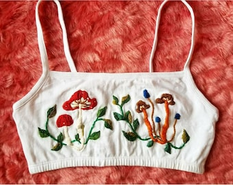 Hand Embroidered Ferny Fungi Bralette