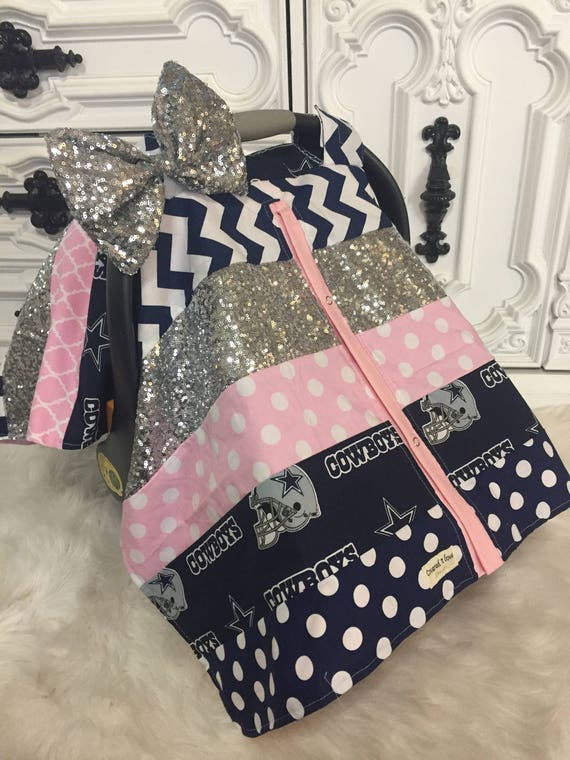 Dallas Cowboys Car Seat Cover / OOAK /  carseat canopy / nursing cover / girl / arrow / infant car seat canopy / carseat cover
