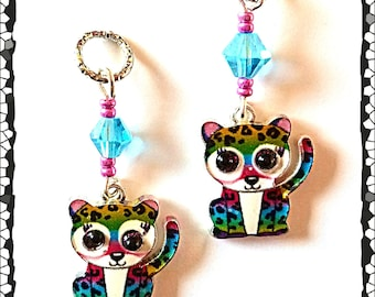 Hearing Aid Charms:  Rainbow Spotted Leopards with Glass and Czech Glass Accent Beads!