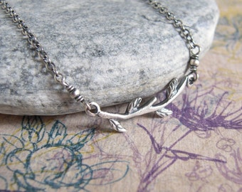 Branch Necklace, Silver Twig, Oxidized Sterling Silver, Leaves Tree Branch, Minimalist, Autumn Necklace