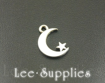 50pcs Antique Silver Alloy Moon And Star Charms Pendant A891