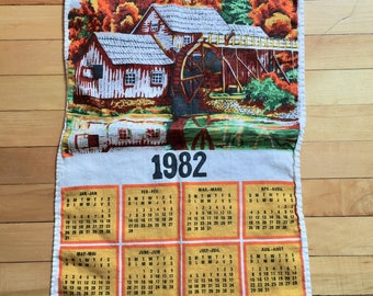 Vintage 1980s Linen Kitchen 1982 Calendar Dish Tea Towel!
