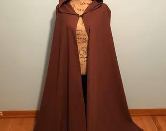 Brown hooded cloak, brown hooded cape, renaissance cloak, medieval cloak, lord of the rings cloak, fantasy cloak