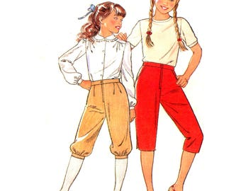80s Maudella SO24 Girls' Knickerbockers and Pedal Pushers with Tucked Waist, Uncut, Factory Folded, Sewing Pattern Multi Size 5-12 years