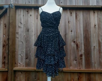 New year's eve dress, party, polka dot, 1980 vintage, ruffle dress, tiered, little black dress, formal, prom, size 6, spaghetti strap, retro