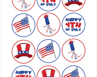 Edible Independence Day Themed Cupcake Cookie Toppers