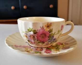 Beautiful Vintage Spring Bouquet Cup and Saucer by KNOWLES, EDWIN c1930s