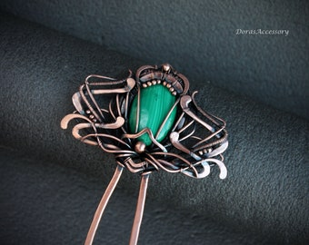 Malachite hair fork Hair comb Wire wrap hairpin Copper hair stick for long hair Hair accessories Dorasaccessory Gift for her Mother day gift