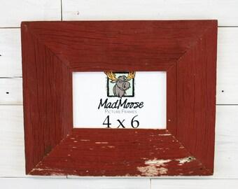"4x6 Red Barn Wood [Thin x 3""]  Picture Frame... (aka Reclaimed Wood Frame, Rustic Weathered Wood Frame)"