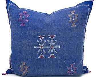 Cactus Silk Pillow Cover, Sabra Silk Pillow, Moroccan Cactus Silk Pillow, Blue Sabra Silk Pillow Cover, Moroccan Sabra Silk | 19x19 | Quin