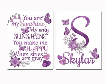 Nursery art baby girl room wall decor you are my sunshine decoration purple floral butterflies name print kids artwork toddler shower gift