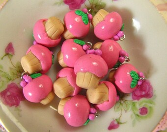 8 Raspberry Muffin Charm