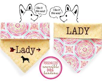 Personalized Stylish  Reversible Dog Bandana