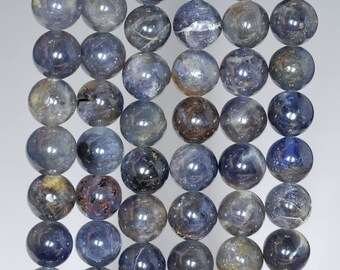 8mm Bermudan Blue Iolite Gemstone Grade A Blue Round 8mm Loose Beads 7.5 inch Half Strand (90146352-163)