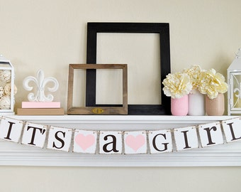 It's a Girl Banner, Baby Shower Decorations, Baby Girl Shower Ideas, Blush Pink Baby Shower, Its A Girl Sign, Baby Pink Shower Banner