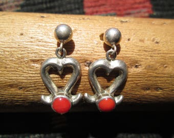 Coral and Sterling Cast Post Dangle Earrings