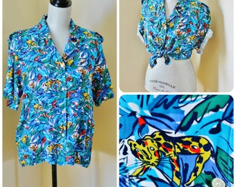 Vintage 80s Cheetah in the Jungle Button Down, Top - Rayon, Oversized, Colourful, Boxy, Blue, Aqua, Red, Yellow, Green, Rainforest, Size M-L