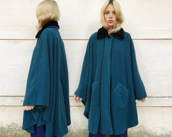Vintage 80s Le Moda Turquoise Blue Green + Black Faux Fur Collar Button Long Maxi Cape One Size Fits