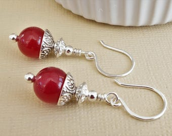Fuchsia pink and silver earrings with artisan ear wires, dyed jade earrings, gemstone earrings, raspberry red and silver earrings