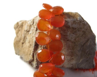 Carnelian Beads, 9mm x 5mm Faceted Pear Shaped Briolettes, 4 Inch Half Strand of Natural Gemstones for Making Jewelry (B-Ca5b)