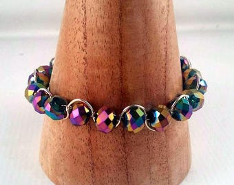 Silver and Rainbow faceted glass Bracelet - petrol Bangle - Rainbow Bangle - blue and purple Bangle - Handmade in England