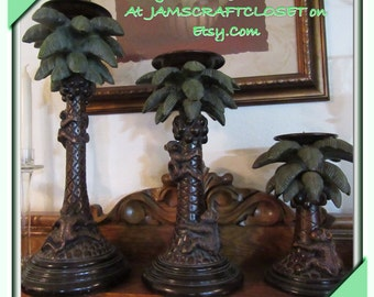 Candle Holder Monkeys Climbing Palm Trees Vintage Unique Beautiful Home Decor  Awesome Gift Idea Monkey or Palm Tree Collector SET of 3