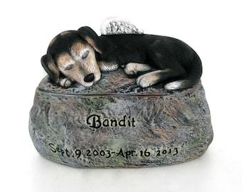 Ceramic Painted Dog Cremation Urn  -Pet hand made urn