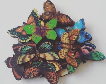 Mini butterfly, butterflies, feature, brooch, woodland, wood, wooden, butterfly brooch, mix colour, by NewellsJewels on etsy