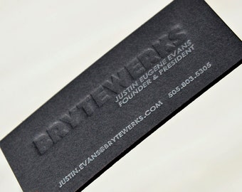 Letterpress Business Cards - Black Thick Board with Silver Ink and Blind color - Color edges