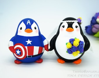 Superhero Captain America Wedding Cake Toppers,Superhero Penguin Wedding Cake Toppers,Love Bird Wedding Cake Toppers