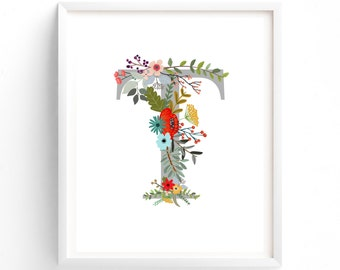 Letter T, Wildflower Floral, Printable Letter Monogram, Nursery Art. Art Prints, Baby Girl Nursery, Wall art Prints